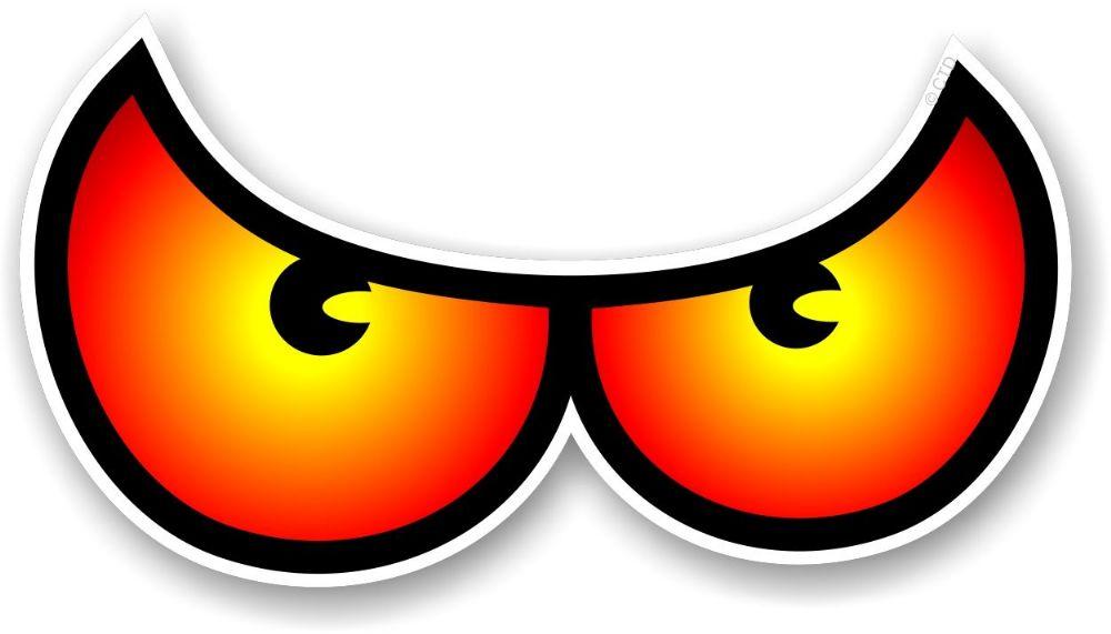 Pair Of Cartoon Angry Evil Eye Eyes Design In Orange For Motorbike ...